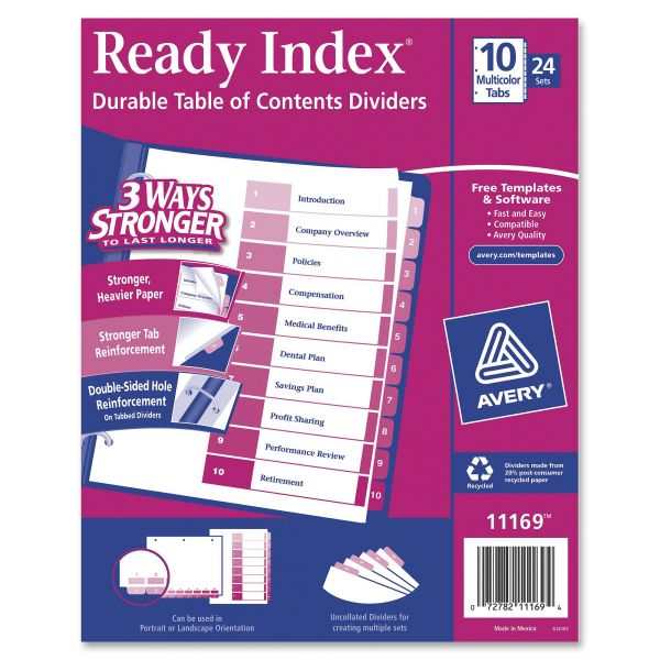 Avery Ready Index Customizable Table of Contents Asst Dividers, 10-Tab, Ltr, 24 Sets