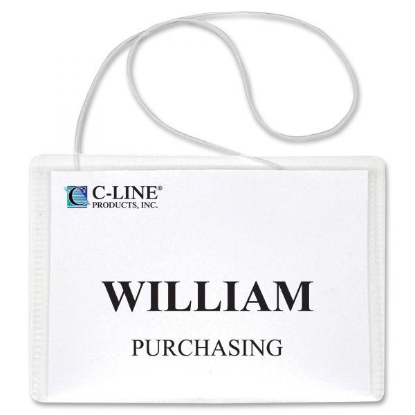 C-Line Name Badge Kits, Top Load, 4 x 3, Clear, Elastic Cord, 50/Box
