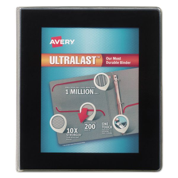 "Avery UltraLast 3-Ring View Binder w/1-Touch Slant Rings, 1"" Capacity, Black"