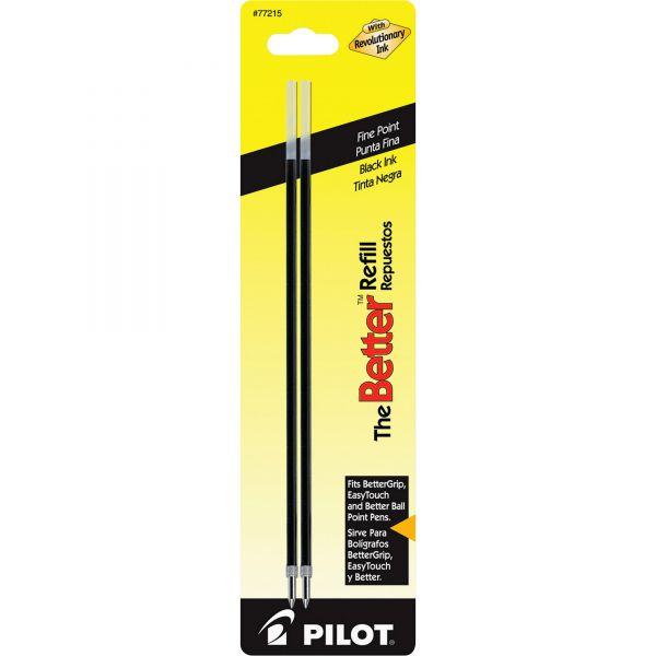 Pilot Refill, Non-retract Better/BetterGrip/EasyTouch Ballpoint, Fine, BLK, 2/Pack