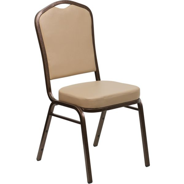 Flash Furniture HERCULES Series Crown Back Stacking Banquet Chair with Tan Vinyl and 2.5'' Thick Seat - Copper Vein Frame