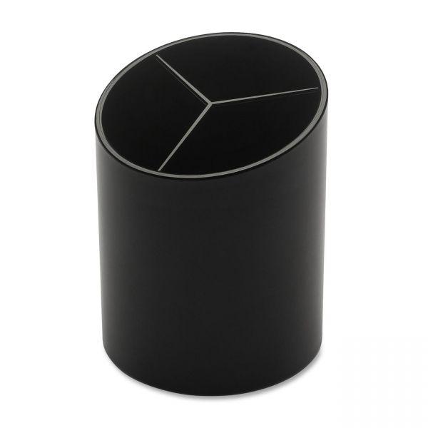 Business Source Large 3-Compartment Plastic Pencil Cup