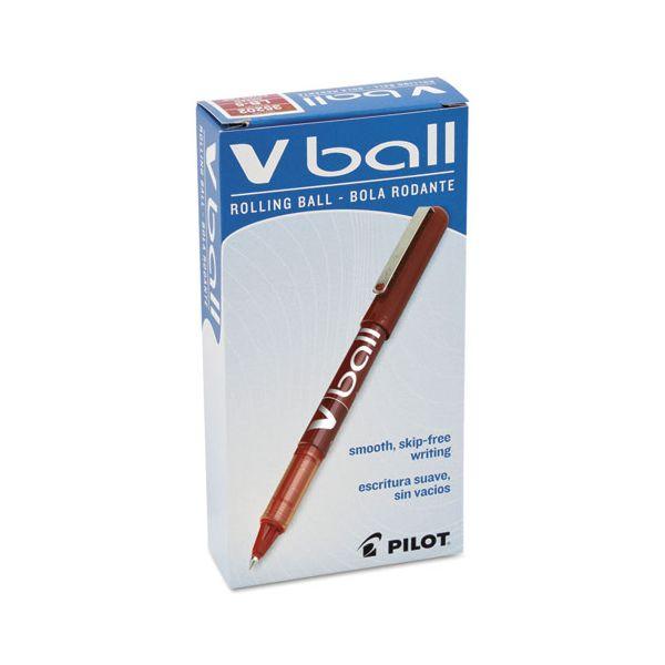 Pilot VBall Liquid Ink Roller Ball Stick Pen, Red Ink, .5mm, Dozen