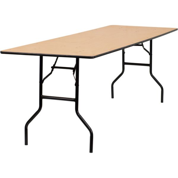 Flash Furniture 30'' x 96'' Rectangular Wood Folding Banquet Table with Clear Coated Finished Top