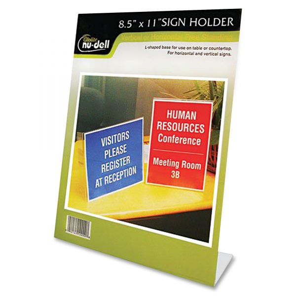 NuDell Slanted Stand-Up Sign Holder