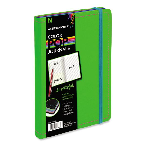 Astrobrights ColorPop Journal, College Ruled, 8 1/4 x 5 1/8, Green, 240 Sheets