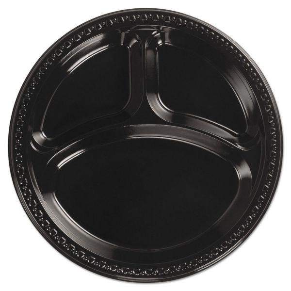"Chinet Heavyweight Plastic 3 Compartment Plates, 10 1/4"" Dia, Black, 125/PK, 4 Packs/CT"