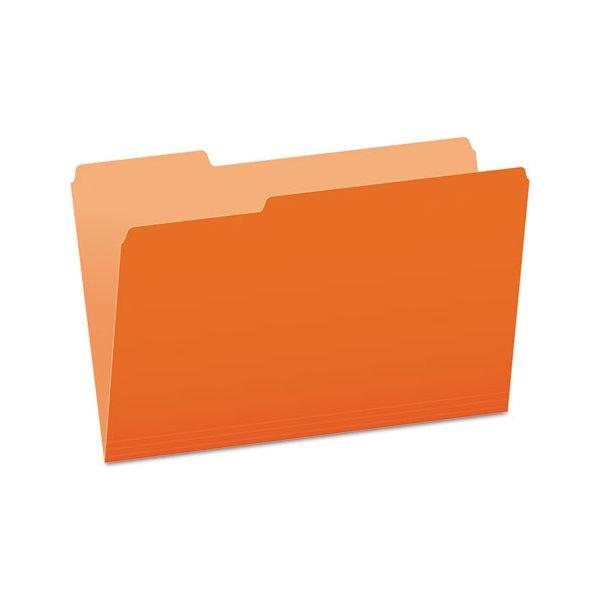 Pendaflex Colored File Folders, 1/3 Cut Top Tab, Legal, Orange/Light Orange, 100/Box