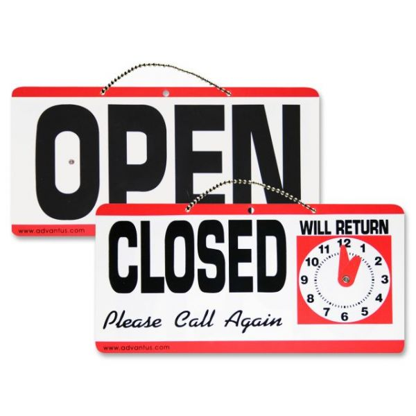Advantus Open/Closed Sign w/Clock