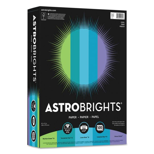 "Astrobrights Color Paper - ""Cool"" Assortment, 24lb, 8 1/2 x 11, 5 Colors, 500 Sheets"