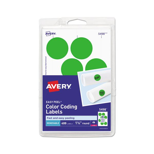"""Avery Printable Removable Color-Coding Labels, 1 1/4"""" dia, Neon Green, 400/Pack"""