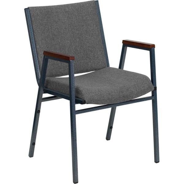 Flash Furniture HERCULES Series Heavy Duty, 3'' Thickly Padded, Gray Upholstered Stack Chair with Arms and Ganging Bracket