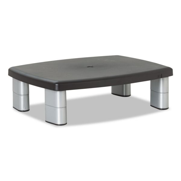 3M Adjustable Height Monitor Stand, 15 x 12 x 2 5/8 to 5 7/8, Black/Silver