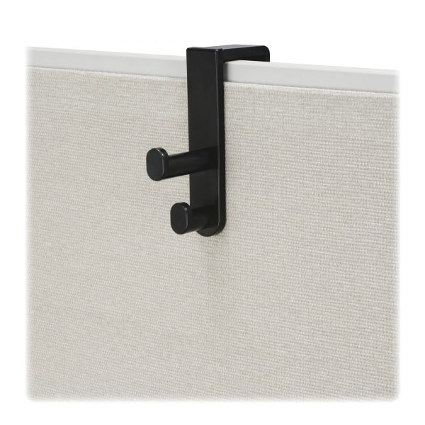 Safco Plastic Coat Hook, 2-Hook, 1 3/4 x 6 1/2 x 7 3/4, Black