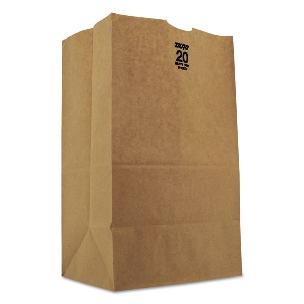 General 20# Squat Heavy-Duty Brown Paper Grocery Bags