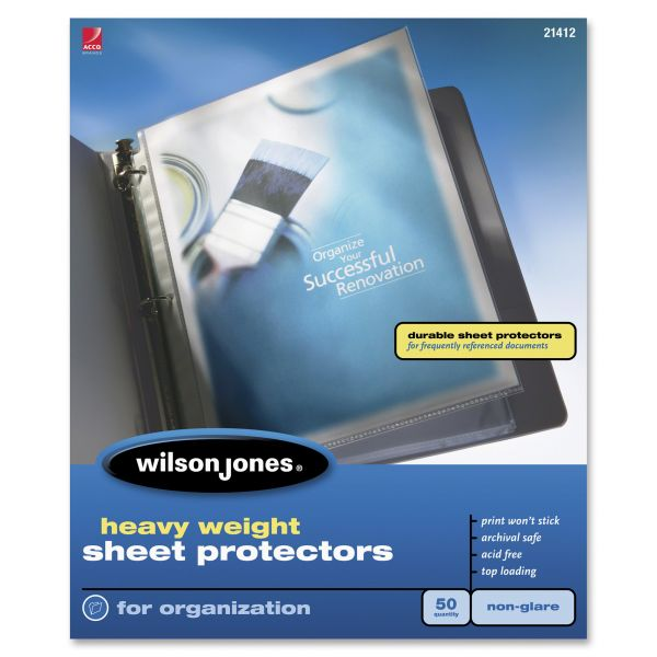 Wilson Jones Top Loading Non-Glare Sheet Protectors