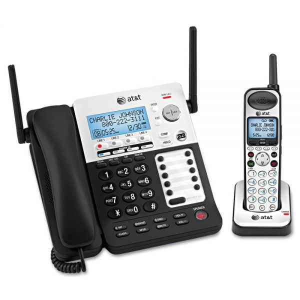 AT&T SB67138 DECT 6.0 Phone/Answering System, 4 Line, 1 Corded/1 Cordless Handset