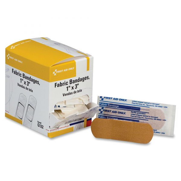 First Aid Only Fabric Bandages,1 x 3, 100 per Box