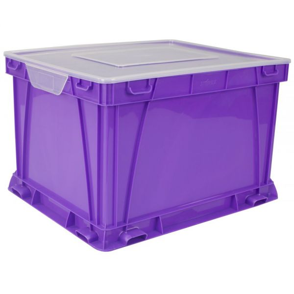 Storex Storage and Filing Cube, School Purple/Clear (case of 3)