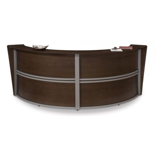 OFM OFM Marque Series Double-Unit Curved Reception Station, Walnut