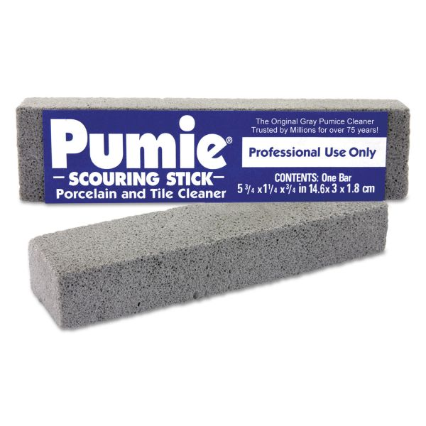 Pumie Scouring Stick, Pumie, Gray Pumice, 5 3/4 x 3/4 x 11/4, 12 per Box