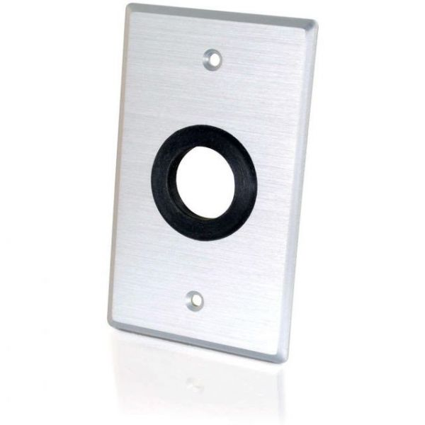 C2G 1in Grommet Cable Pass Through Single Gang Wall Plate - Brushed Aluminum
