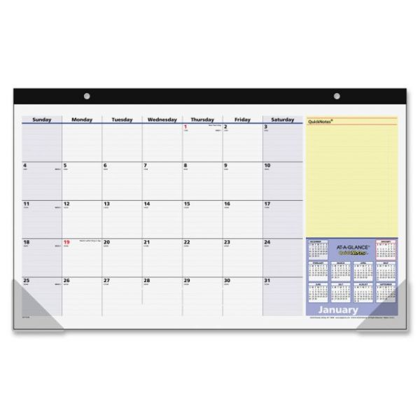 At-A-Glance QuickNotes Compact Monthly Desk Pad Calendar