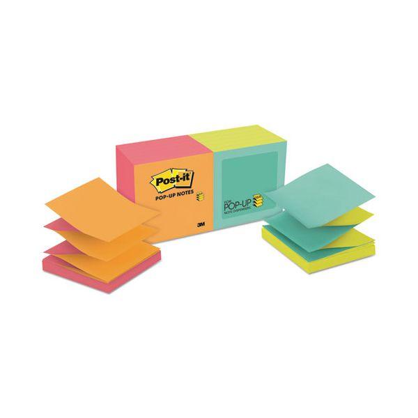 Post-it Pop-up Notes Original Pop-up Refill, Alternating Cape Town Colors, 3 x 3, 100-Sheet, 12/Pack