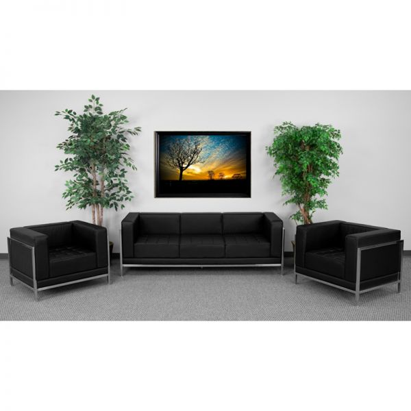 Flash Furniture HERCULES Imagination Series Black Leather Sofa & Chair Set