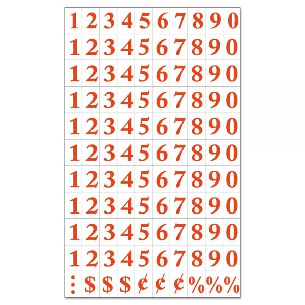 "MasterVision Interchangeable Magnetic Characters, Numbers, Red, 3/4""h"