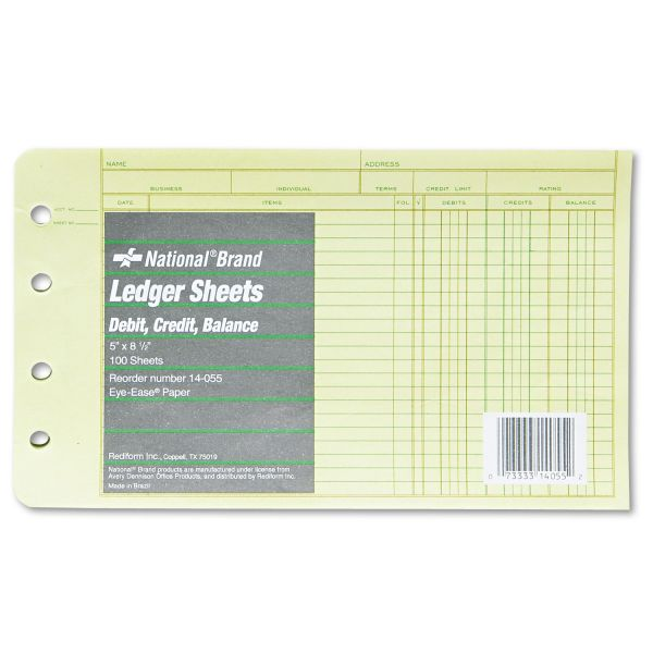 National Four-Ring Binder Refill Sheets, 5 x 8 1/2, 100/Pack