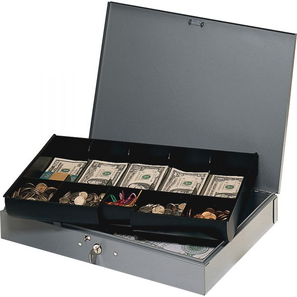 SteelMaster Extra-Wide Steel Cash Box w/10 Compartments, Key Lock, Gray