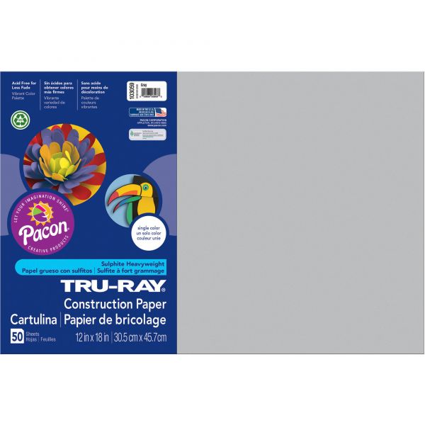 Tru-Ray Sulphite Gray Construction Paper