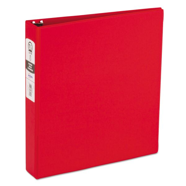 "Avery Economy Non-View 3-Ring Binder, 1 1/2"" Capacity, Round Ring, Red"
