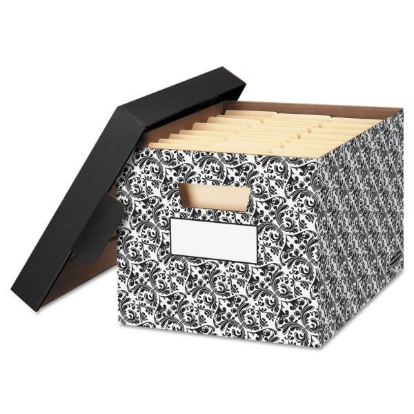Bankers Box STOR/FILE Decorative Medium-Duty Storage Boxes, Letter/Lgl, Black/White Brocade