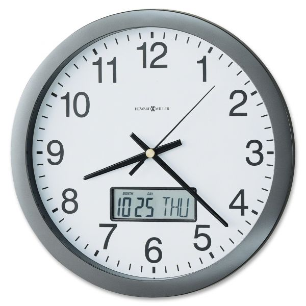 Howard Miller Chronicle Wall Clock with LCD Inset