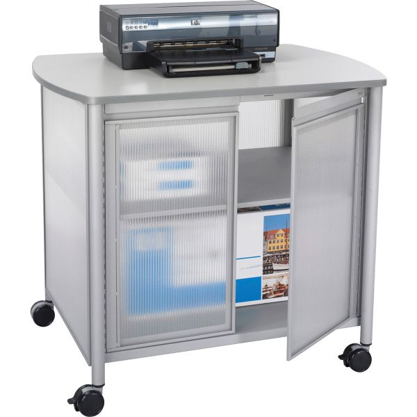 Safco Impromptu Deluxe Machine Stand w/Doors, 34-3/4w x 25-1/2d x 30-3/4h, Gray