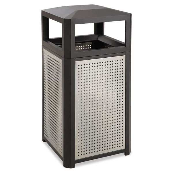 Safco Evos Series Steel Waste Container, 15gal, Black