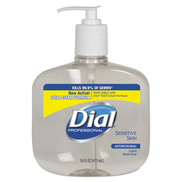 Dial Professional Antimicrobial Soap for Sensitive Skin, 16oz Pump Bottle, 12/Carton
