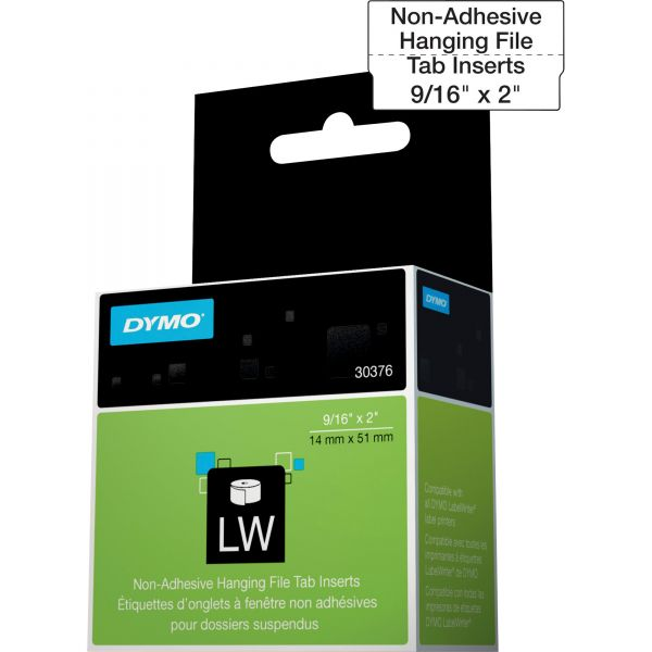 DYMO LabelWriter Hanging File Folder Tab Inserts, 9/16 x 2, White, 260 Labels/Roll