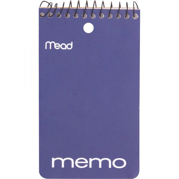 Mead Memo Book, College Ruled, 3 x 5, Wirebound, Punched, 60 Sheets, Assorted