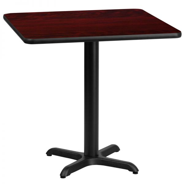 Flash Furniture 30'' Square Mahogany Laminate Table Top with 22'' x 22'' Table Height Base