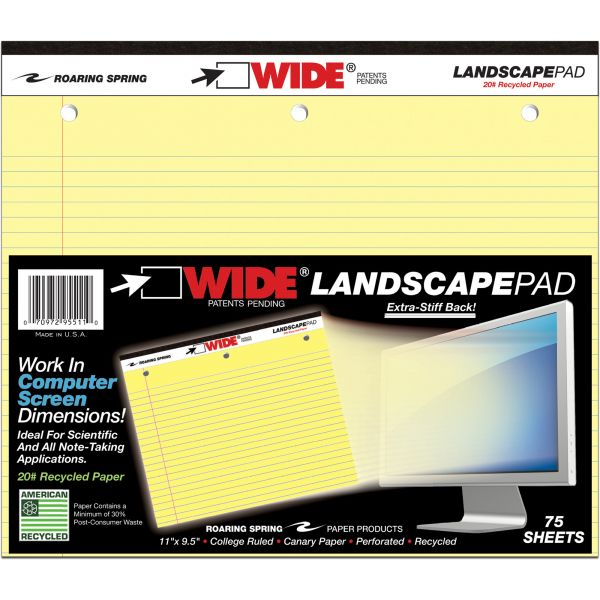 Roaring Spring WIDE Landscape Format Writing Pad, College Ruled, 11 x 9 1/2, Canary, 75 Sheets