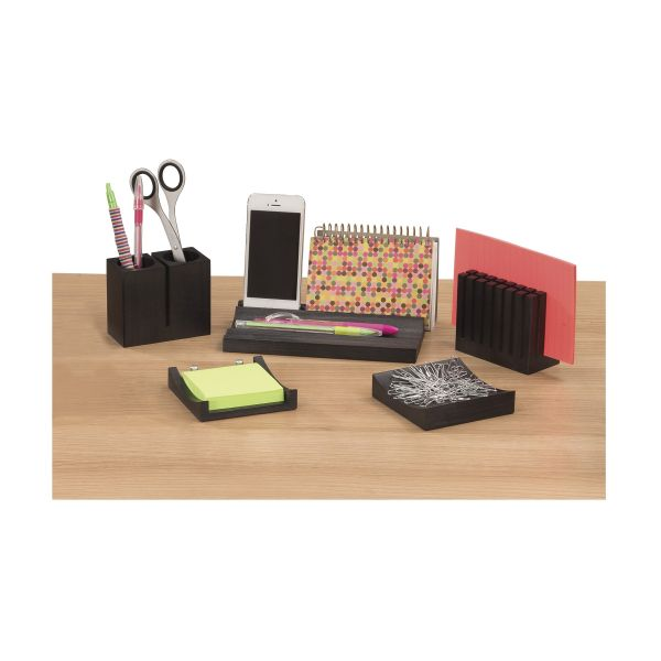 Safco Wood Desk Organizer Set