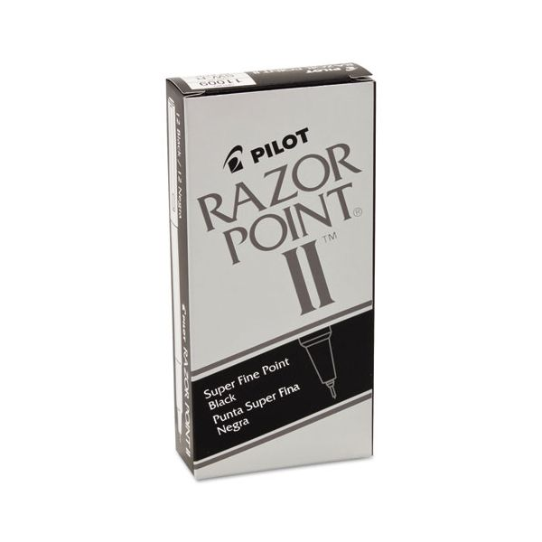 Pilot Razor Point II Super Fine Marker Pen, Black Ink, .2mm, Dozen
