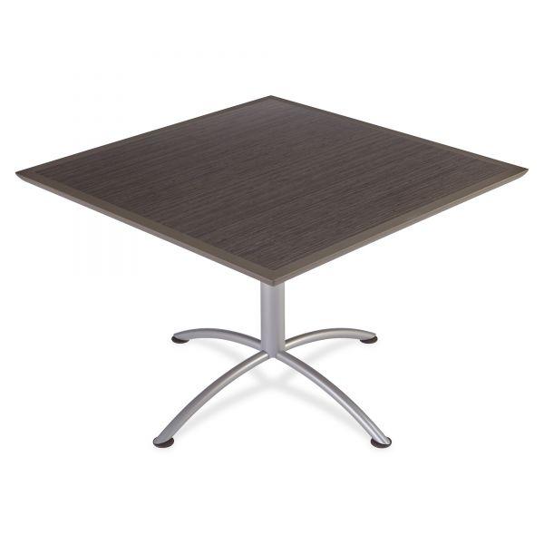 Iceberg iLand Table, Dura Edge, Square Seated Style, 42w x 42d x 29h, Gray Walnut/Silver