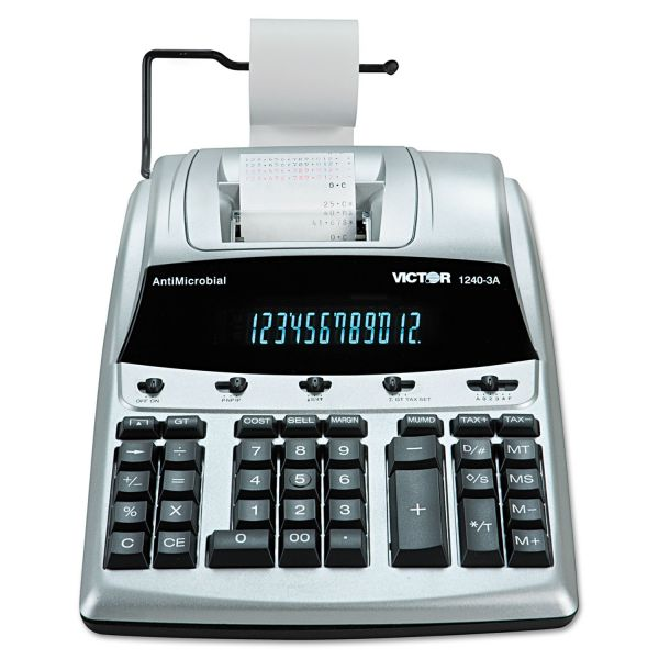 Victor 1240-3A Antimicrobial Printing Calculator, Black/Red Print, 4.5 Lines/Sec