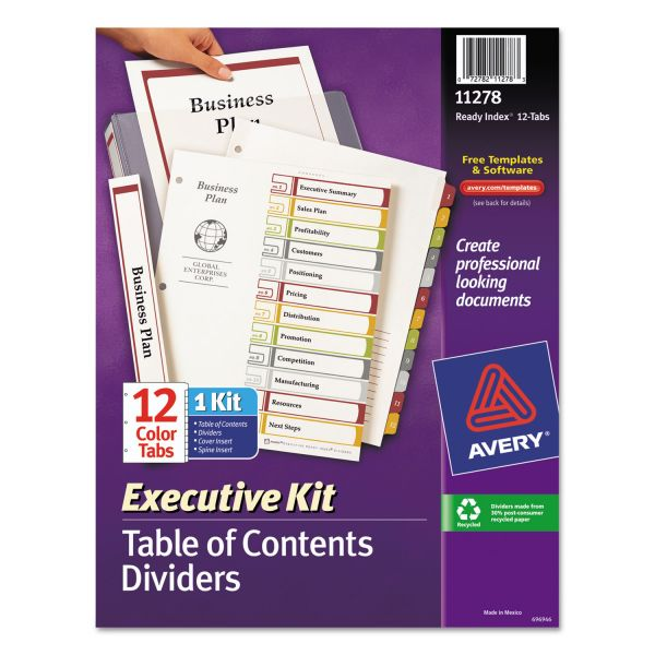 Avery Ready Executive Kit Index 12-Tab Numbered Dividers With Table Of Contents Page