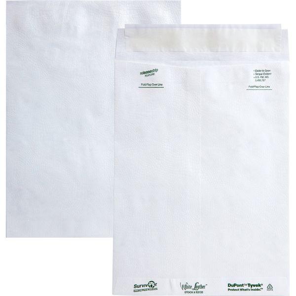 Survivor White Leather Tyvek Mailer, 9 x 12, White, 100/Box