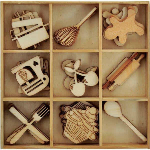 Bon Appetit Wooden Shapes 45/Pkg